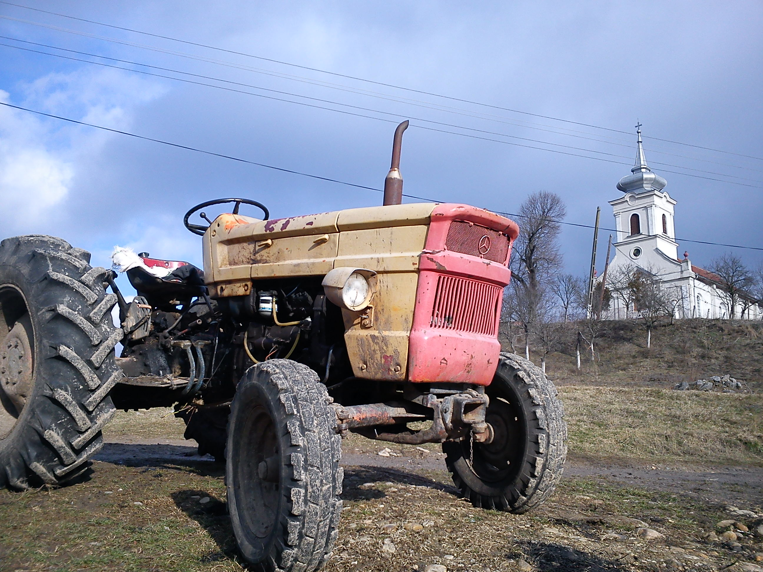 a tractor in Stanciova eco-village